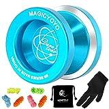 MAGICYOYO Unresponsive Yoyo N8, Dare to Do Professional Yoyo Aluminum Metal Yoyo Spin Yoyo for Kids Advanced Yoyo Players + Yoyo Glove + Yoyo Bag + 6 Yoyo Strings