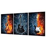3 Panel Paintings Wall Art Decor Hd Print 3 Panels Canvas Art Black Burning Fire Guitar Music Painting Room Decor Canvas Wall Art Posters Picture-With Frame 50X70CmX3