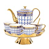ZHJC Juego de Tazas de Té de Porcelana Copa de café de cerámica Bicolor giratoria Bone China Inglés-Estilo de Phnom Penh...