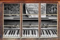 KAIASH 3Dウォールステッカー3Dルックウォールまたはドアステッカーウォールステッカーウォールステッカーウォールデコレーション62x42cmのシートミュージックウィンドウ付きモノクロームアンティークピアノ