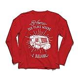Camiseta de Manga Larga para Hombre el Lugar al Que pertenezco - Caravana, campista - Desierto, Salvaje y Feliz día de Fiesta, Naturaleza, Playa, Camping Forestal (X-Large Rojo Multicolor)