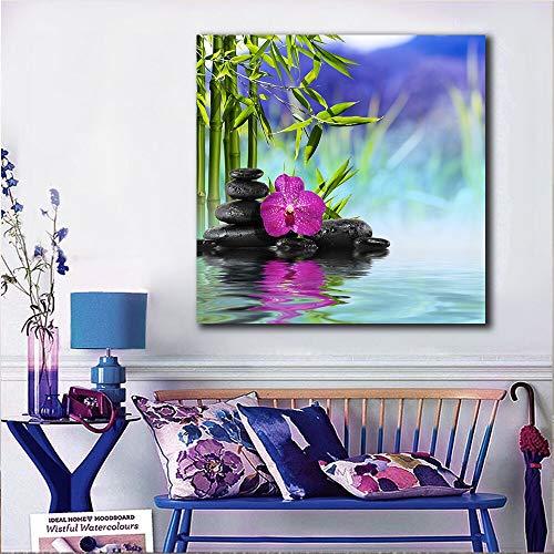 KWzEQ Imprimir en Lienzo Cartel y Cuadros Modernos de bambú de orquídeas para el sofá de la Sala de estar40x40cmPintura sin Marco