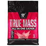 BSN True Mass All In One Gainer Whey Protein Powder with Creatine, Glutamine, Vitamin D and Zinc for Muscle Gain and Recovery, Strawberry, 4.2 kg, 25 Servings