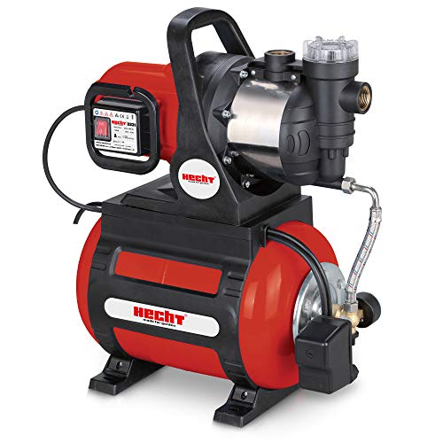 Hecht Hauswasserwerk (Brandneu) – 1100 Watt – Wasserpumpe – max. 8 m selbstansaugend – max. 4,5 bar Förderdruck – 4600 l/h Förderleistung – 24 Liter Druckkessel – Abschaltautomatik – Filter – leise