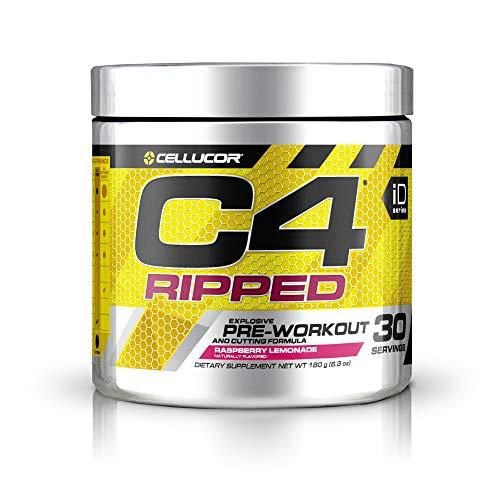 C4 Ripped Pre Workout Powder Raspberry Lemonade | Creatine Free + Sugar Free Preworkout Energy Supplement for Men & Women | 150mg Caffeine + Beta Alanine + Weight Loss | 30 Servings