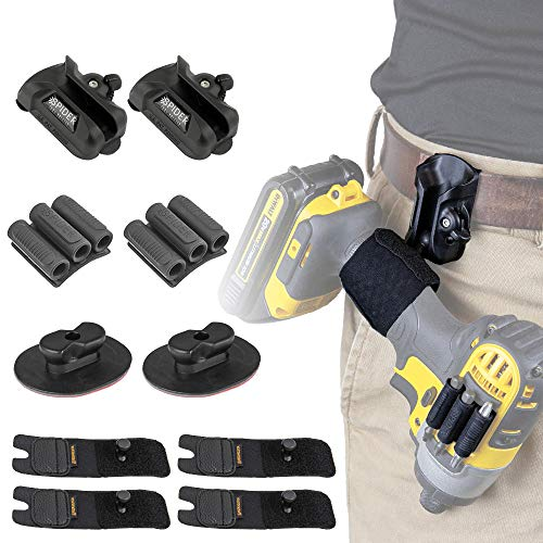 Spider Tool Holster - QUAD TOOL KIT - 10 Piece Set for carrying your power drill, driver, multi-tool, pneumatic, multi-tool and other hand tools on your belt!