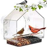Leo565Tom Grande Mangeoire à Oiseaux Exterieur Suspendue, 3 Ventouses Collantes Fortes, Acrylique Transparent Bird Feeder Étanche La Pluie Mangeoire Oiseaux pour Fenêtre Jardin Exterieur