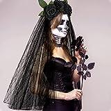 E-More Diadema de Halloween con velo de encaje negro, diadema de flores rosas, accesorios para el cabello de encaje de malla de rosas Negro, tocado de fiesta de novia fantasma de Halloween