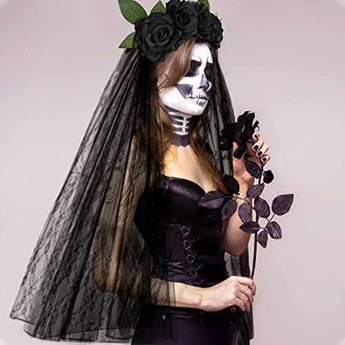E-More Diadema de Halloween con velo de encaje negro, diadema de flores...