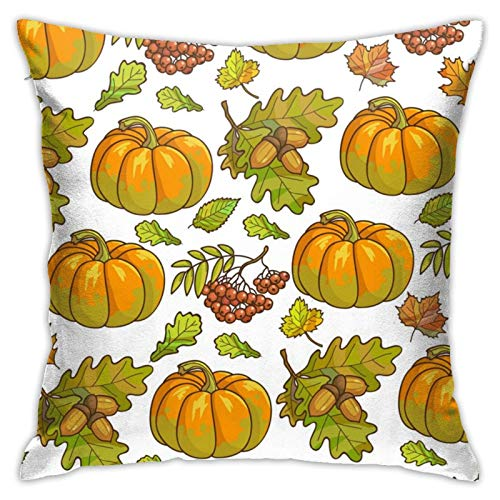 Hxjiuli Ripe Pumpkin Maple Leaves Pillowcase Home Decor Pillow Cover Bedroom Decorative Throw Cafe For Living Sofas Square 18x18 Inch