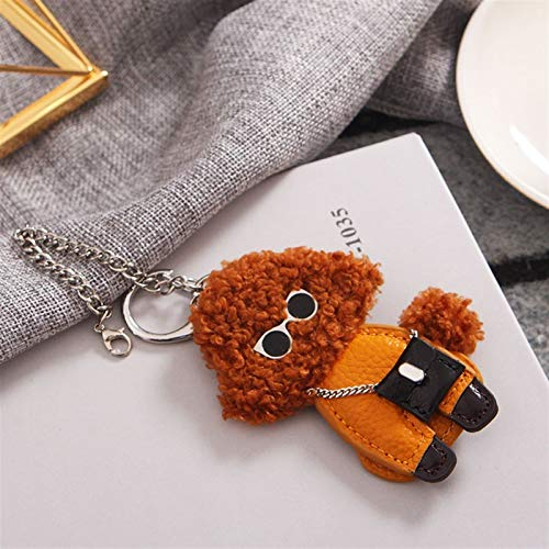 Djujiabh Keychain Cute Curly Teddy Dog Keychain Hanging Luxury Leather Couple Bag Charm Decoration Pendant key Ring (Color : Brown)