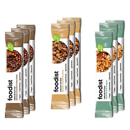 Foodist Voll-Nussriegel BIO vegane Riegel Mix Box mit 3 Sorten - Peanut Cacao, Nuts Agave & Almond Dark Chocolate, glutenfreie Riegel ohne Zucker-Zusatz (9 x 40g)