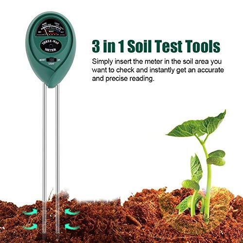 Delaman Bodemtester, 3-in-1, meetinstrument voor bodem, pH-waarde/luchtvochtigheid/lichtmeter, grondtestset voor tuin