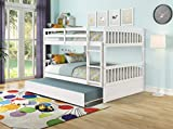 Full Over Full Bunk Bed with Twin Size Trundle, Pine Wood Bunk Beds Full Over Full with Safety Rail & Ladder, Convertible To 2 Full-Size Platform Bed, Bunk Bed for Kids Girls Teens Adults (White)