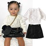 1-5 Años Otoño Bebé Niños Niñas Blanco Cuello Redondo Manga Larga Suéter de Punto Tops+Negro Faldas de Cuero Conjunto de Trajes