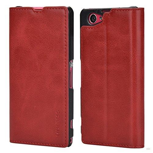 Mulbess Cover per Sony Xperia Z1 Compact, Custodia Pelle con Funzione Stand per Sony Xperia Z1 Compact [Slim Case], Vino Rosso