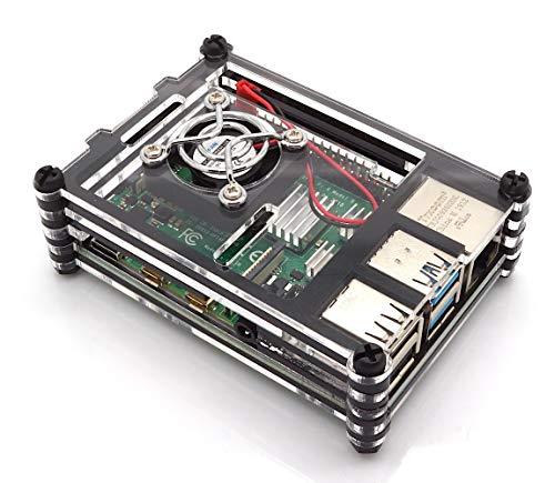 Sertronics Gehäuse für Raspberry Pi 4 mit Lüfter, Stackable, transparent/schwarz