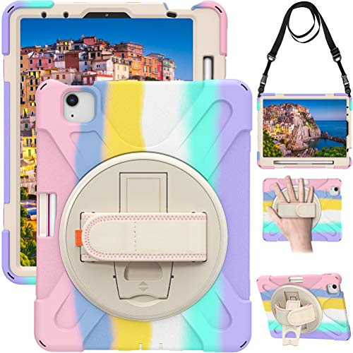 Lfdygcd Case with Rotating Strap and Stand Pencil Holder Heavy Duty Cover for iPad Air 4th 10.9 Multicolor