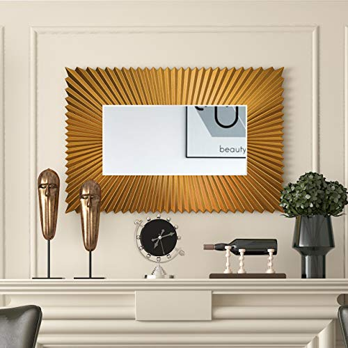 NXHOME Modern Large Rectangular Mirror - Gold Accent Mirror 44×30 Inch Metal Framed Wall Mirror for Home Living Rooms Entryways