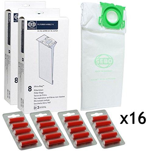 SEBO Ultrabag Airbelt Komfort K1 K3 Vulcano Echte Stofzuiger Tassen (Pak van 16 + 20 Fresheners)