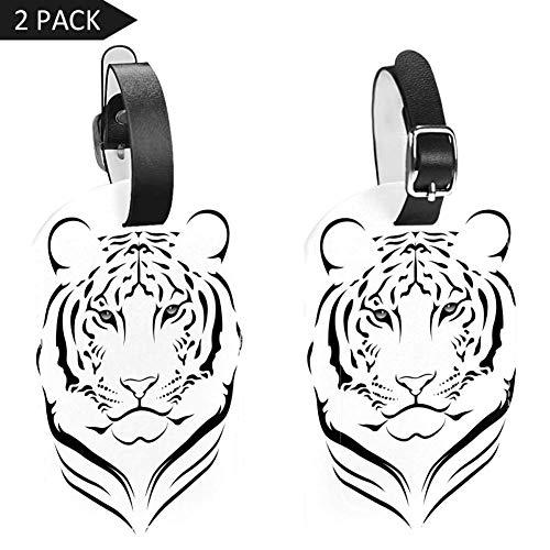 Cabeza Tigre PU Cuero 2 Luggage Tag Etiqueta Equipaje