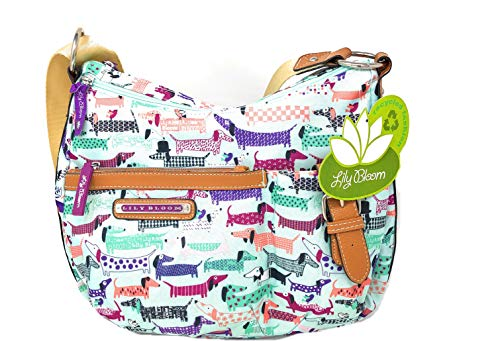 Lily Bloom Eco-Friendly Bag, Colorful Hot Dog, Dachshund Totally Paw Some Kathryn Classic HOBO, 15X12 in