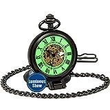 SEWOR Vintage mecánica Mano Viento Reloj de Bolsillo Luminosa Esfera Lupa de Cristal (Standup Negro)