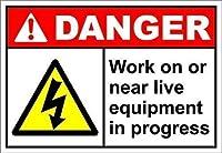 高品質の金属スズサインインチ、進行中のライブ機器またはその近くでの作業危険、公園の看板公園ガイド警告サイン私有財産の金属屋外の危険サイン