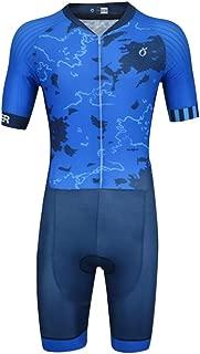 Emonder Men's Triathlon Suit Elite Aero Short Sleeve Zipper Tri Suit Bike Swim Running