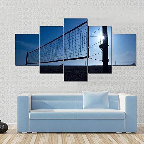 IOOIO 5 Pieza Cuadro En Lienzo Red de Voleibol de Voleibol de Playa Impresión en Lienzo Picture Artworks para Arte Pared Habitación Dormitorio Moderno Decorativo
