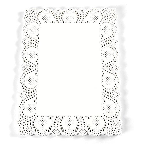 Papier Deckchen–100STCK quadratisch Spitze Tischsets für Kuchen, Desserts, gebackener behandeln Display, ideal für Hochzeiten, feierliche Event Dekoration, Geschirr Dekor, weiß–39,4x 29,7cm