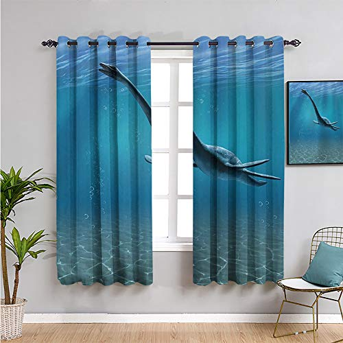 VICWOWONE jurassic Shading Insulated Curtain, Curtains 72 inch length aquatic dinosaur the elasmosaurus lived during the cretaceous period artwork print Indoor curtain W63 x L72 Inch blue