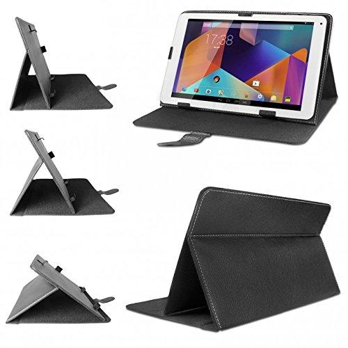 eFabrik Universal Tablet Tasche Hülle für Hannspree Hannspad SN1AW72 (W72B) 25,65 cm (10,1 Zoll) Schutztasche Schutzhülle Cover Hülle mit Aufstellfunktion hochwertige Leder-Optik schwarz