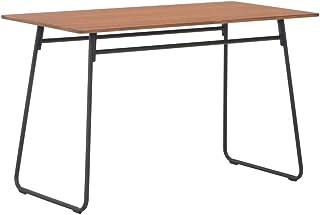 Casdl Table de salle à manger marron en contreplaqué d'acier, 120 × 60 × 73 cm.