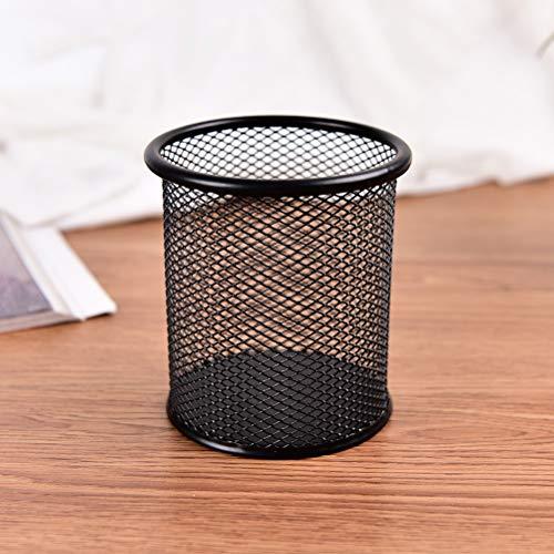 Tivivose Der neue schwarze Metallrahmen eines Netto-pen Lineal Sitzspeicher Schreibtisch-Organisator (Color : Round)