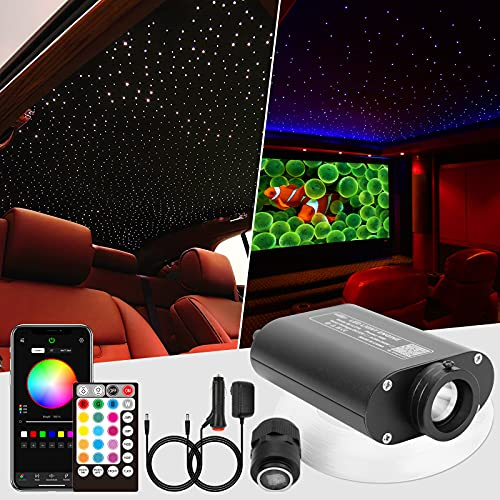 CHINLY 16W 450pcs 0.03in 9.8ft Car Use Bluetooth RGBW LED Fiber Optic APP&Remote Music Mode Star Ceiling Headliner Light Kit+Adapter+Cigarette Lighter for Car/Ceiling
