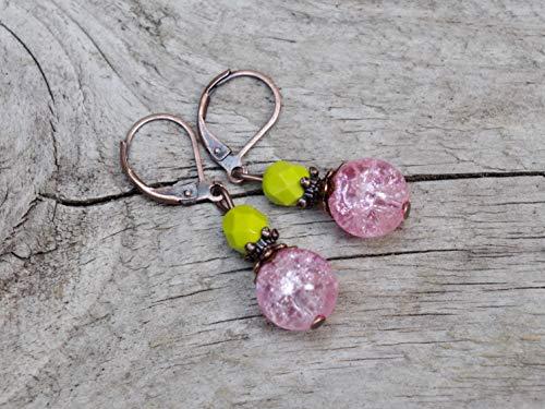 NEU!! Vintage Ohrringe mit böhmischen & Crash Glasperlen - rosa, kiwigrün, kiwi, grün & kupfer