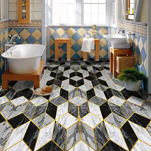 Suelo 3D Suelo impermeable Papel tapiz de PVC Moderno Creativo Blanco y negro Patrón de mármol geométrico Etiqueta de suelo Inodoro Autoadhesivo Azulejos impermeables Mural-350 * 245Cm Para cocina B
