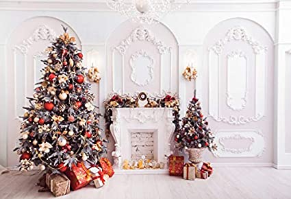 Leowefowa Merry Christmas Backdrop for Photography 12x8ft Vinyl Indoor Panel Wall Xmas Tree Gifts Fireplace Whitish Wood Floor Background Child Adult Shoot Christmas Party Banner Photo Booth Props