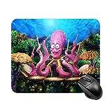 Undersea Pulpo Tambor o Catcher Natural Eco Desktop and Laptop Mouse Pad 1 paquete de 30 x 25 x 2 cm/11,8 x 9,8 x 0,8 pulgadas