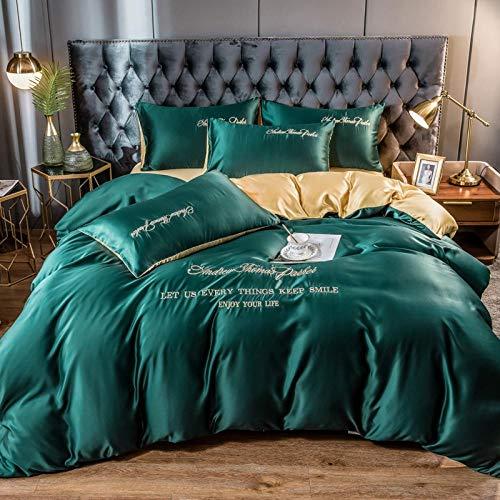 juego de funda de edredón cama matrimonio,Cama de seda lavada, ropa de cama de seda de hielo de cuatro piezas, funda de edredón, juego de cama de lujo ligero sedoso europeo-H_Cama de 2,0 m (4 piezas)