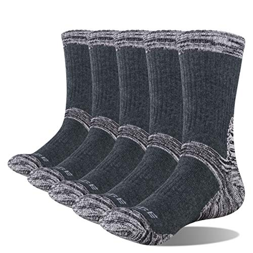 YUEDGE Men's 5 Pairs Wicking Breathable Cushion Anti Blister Casual Crew Socks Multi Performance...
