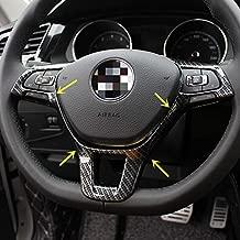 Sport Style Carbon Fiber Print Steering Wheel Cover Trim for VW Volkswagen Atlas Tiguan Golf Jetta Passat