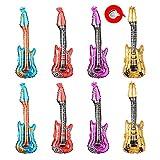 Huture 8 Pack 33' Globos Inflables Guitarra Globo de la Banda Rock Globos de Juguete Agua Accesorios de Fiesta con Temas Musicales Globo de Aluminio para Decoraciones de Boda y Cumpleaños, 4 Colores