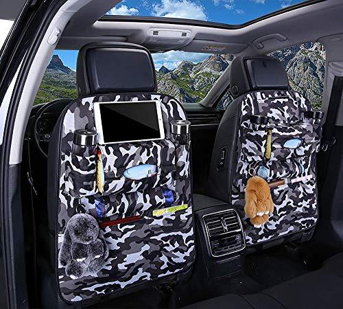 Organizadores para asientos traseros de coche, 2 piezas de fundas protectoras impermeables para asientos, tapete para niños con iPad 9.7 ', soporte para tableta, bolsillo de almacenamiento múltiple pa