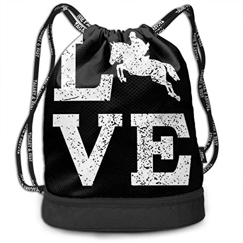 zhangyuB Men & Women Premium Polyester Bolsa con cordón I Love Horse Black Gymsack Theft Proof Lightweight For Travel Soccer Baseball Bag Large For Camping, Yoga Runner