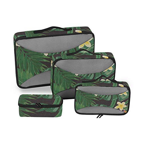 Palm Leaves 4pcs Large Travel Toiletry Bag for Women Big Wash Bags Hair Dryer Case Multi-Use Toiletries Kit Cosmetics Makeup Bathroom Organizer Suitcase Luggage