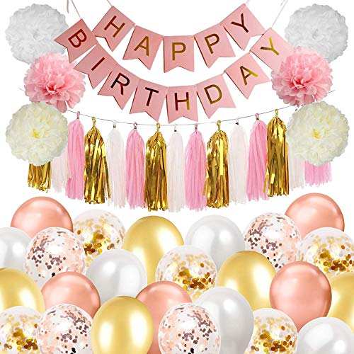 Kiero Rose Gold, White, Pink and Gold Birthday Party Decoration Set Including Confetti and Latex Balloons, Paper Flowers, Tassel Garland Banner, Happy Birthday Bunting