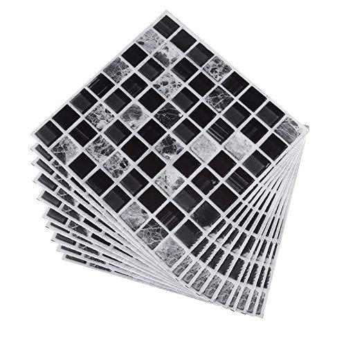 UkYukiko - Juego de 10 pegatinas para azulejos de mosaico negro
