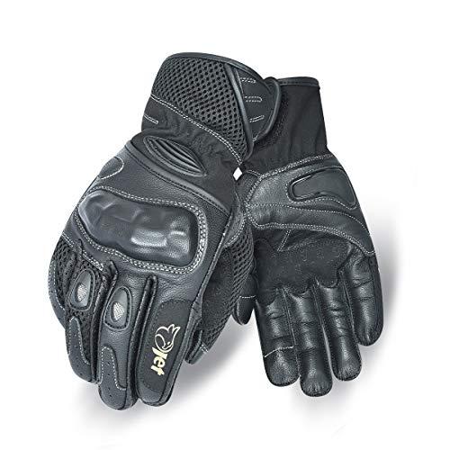 Jet Motorrad Handschuhe Sommer Leder Textil Knöchelschutz PRO MESH (M, Schwarz)